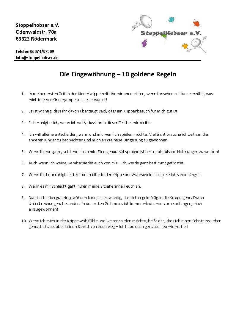 Eingewöhnung 10 goldene Regeln Stoppelhobser e.V.