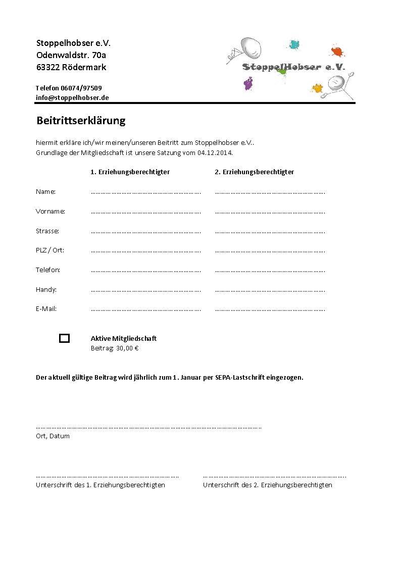 Vereinsmitgliedschaft Stoppelhobser e.V.
